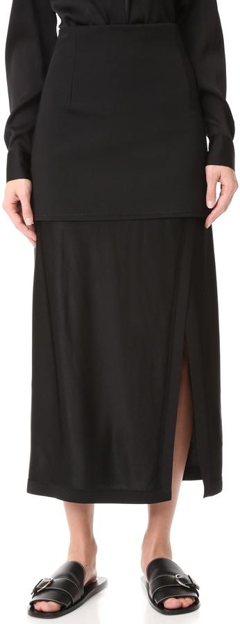 DKNYDKNY Midi Skirt with Slit & Combo Fabric