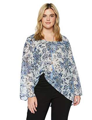 OneWorld Women's Plus-Size Bell Sleeve Top with Necklace