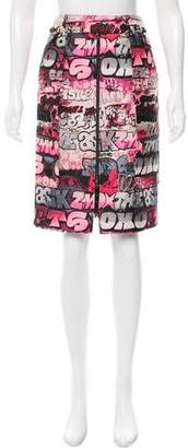 Giamba Metallic-Accented Graffiti Skirt w/ Tags