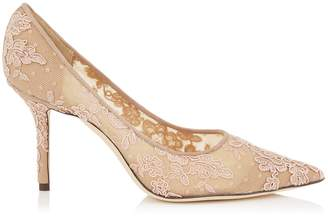 Jimmy Choo LOVE 85 Ballet Pink Floral Lace Pointy Toe Pumps