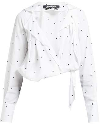 Jacquemus Figari Embroidered Cropped Shirt - Womens - White Multi