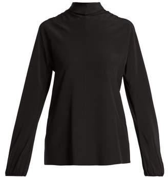 Prada High Neck Silk Blouse - Womens - Black