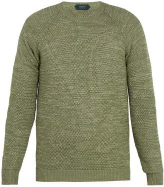 Zanone Crew-neck linen-cotton knit sweater
