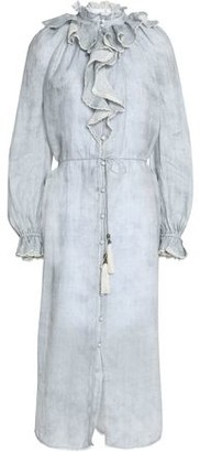Zimmermann Ruffled Striped Linen Midi Dress
