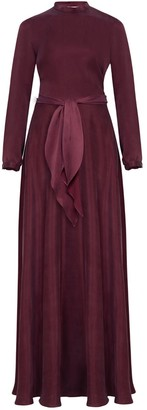 Undress Melia Burgundy Open Back Flared Maxi Dress