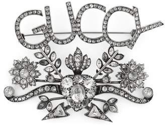 Gucci Guccy crystal brooch