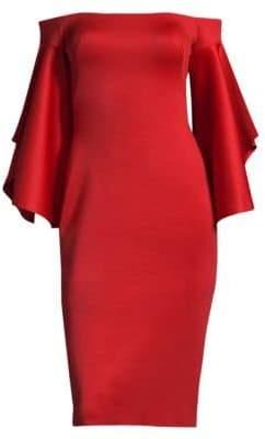 Black Halo Malibu Off-The-Shoulder Bell-Sleeve Cocktail Dress