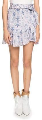 Etoile Isabel Marant Tempster Printed Linen Wrap Skirt