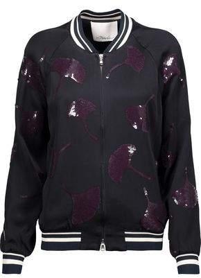 3.1 Phillip Lim Sequin-Embellished Washed-Crepe Bomber Jacket