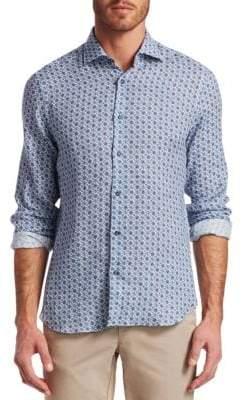 Saks Fifth Avenue COLLECTION Retro Floral Linen Woven Shirt