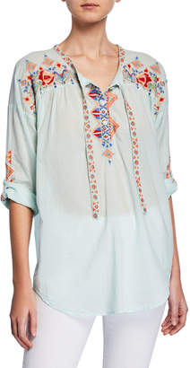 Johnny Was Gina Embroidered Tie-Front Cotton Blouse