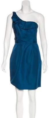 Lela Rose Silk One Shoulder Mini Dress
