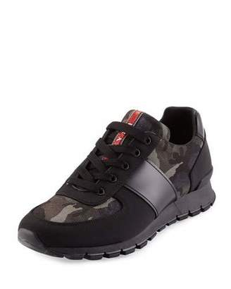 Prada Camo-Print Nylon Running Sneaker, Black/Gray $695 thestylecure.com