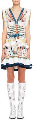 Chloé Sleeveless Printed V-Neck Silk Dress