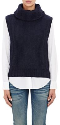 Barneys New York Women's Wool-Cashmere Cowl-Neck Sweater-NAVY $595 thestylecure.com