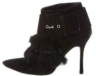 Manolo Blahnik Fur-Trimmed Suede Ankle Boots