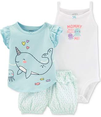 7612fdff Carter's Baby Girls 3-Pc. Cotton T-Shirt, Bodysuit & Printed Shorts