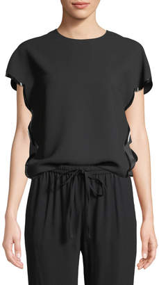 RED Valentino Scallop-Edge Short-Sleeve Crepe Satin Top w/ Faux-Leather Trim