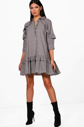 boohoo Double Ruffle Gingham Smock Shirt Dress