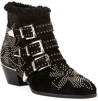 Chloé Susan Short Studded Shearling-Lined Boots