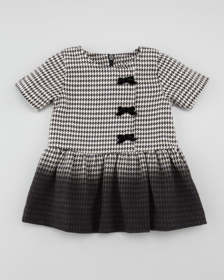 Lili Gaufrette Ombre Houndstooth Dress, Black/White