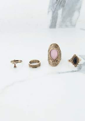 Missy Empire Missyempire Khlara Gold Multi Set Pink Stone Rings