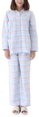 Tortor 1bacha Women's 100% Cotton Flannel Plaid Pajama Set