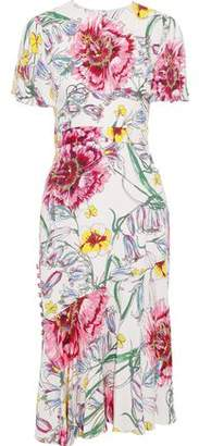 Prabal Gurung Victoria Button-detailed Floral-print Silk Crepe De Chine Skirt