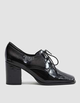 Intentionally Blank Sung Heeled Oxford in Black Patent