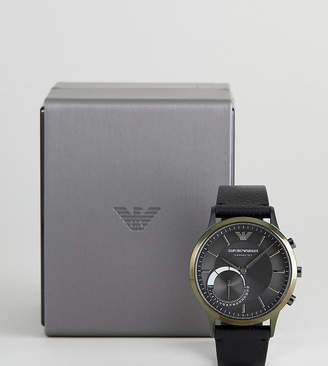 Emporio Armani Connected Art3021 Leather Hybrid Smart Watch In Black 43mm