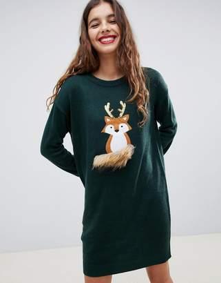 Brave Soul foxie christmas sweater dress
