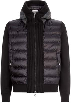Moncler Quilted Panel Zip-Up Hoodie