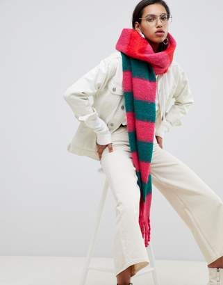 Asos DESIGN bright stripe fluffy long scarf with tassels