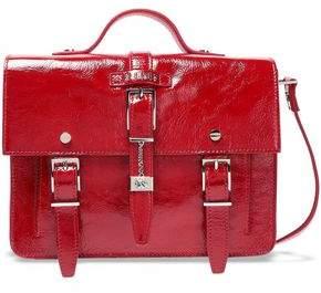 Versace Buckle-embellished Crinkled Patent-leather Shoulder Bag