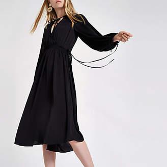 River Island Black shirred waist smock midi dress