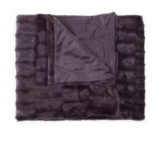 """Popular Home Products Decorative Reversible Faux Fur and Mink Throw Blanket 50"""" x 60"""" Box Pattern"""