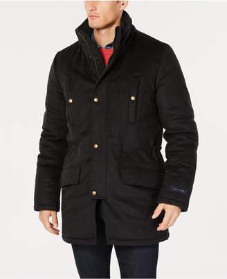 Tommy Hilfiger Men Modern-Fit Pilot Charcoal Tic Overcoat