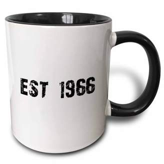 3dRose Grunge Est Established in 1966 - Sixties Baby Born Child of the 1960s - Personal custom birth year - Two Tone Black Mug, 11-ounce