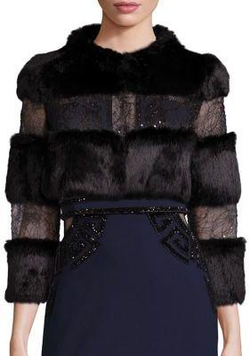 Alberto MakaliALBERTO MAKALI Rabbit Fur & Embellished Lace Bolero