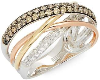 Effy Women's 14K Tri-Colored Gold & Diamond Crossover Ring