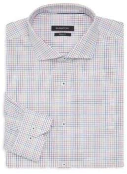 Bugatchi Shaped-Fit Grid-Print Dress Shirt