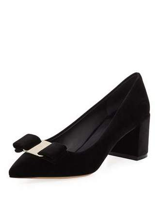 Salvatore Ferragamo Velvet Block-Heel Bow Pointed-Toe Pumps