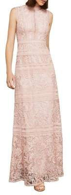 BCBGMAXAZRIA Sleeveless Scrolling Lace Gown
