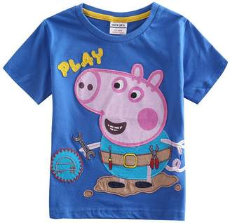 Peppa Pig Tiful Little Boys Summer Short Sleeve Cartoon Animal Pure-Color Cotton blended T-Shirts