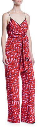 Diane von Furstenberg Barry Printed Stretch-Viscose Tie-Front Jumpsuit