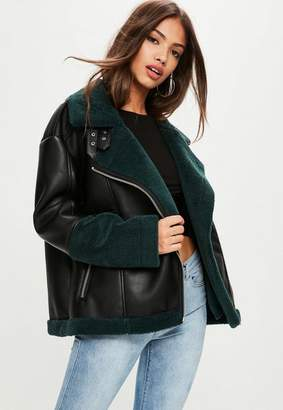 Missguided Colour Block Shearling Aviator Jacket