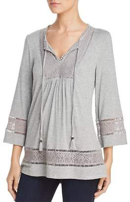 Daniel Rainn Lace Trim Knit Peasant Top