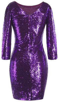 IBTOM CASTLE Women's Sparkle Glitzy Glam Sequin 3/4 Sleeve Flapper Evening Party Club Bodycon Cocktail Dress Midi Bridesmaid Maxi Gown XXL