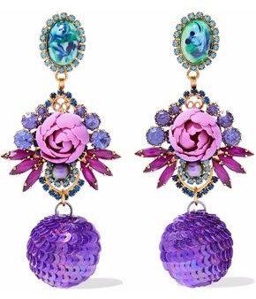 Elizabeth Cole Gold-Tone Crystal Stone And Sequin Earrings