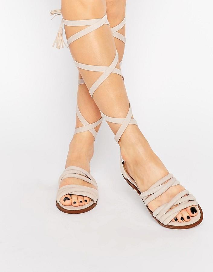 Public Desire Maddison Beige Tassel Wrap Flat Sandals